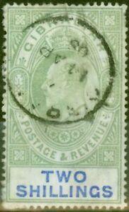 Gibraltar 1903 2s Vert & Bleu SG52 Bon D'Occasion (2)