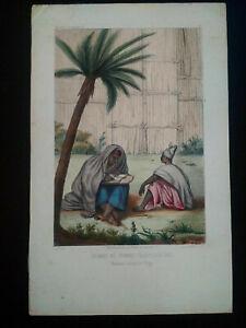 Rarissime-Esquises-Senegalaises-gravure-couleur-originale-couple1853-Boilat