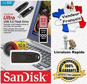 Cle-USB-3-0-SANDISK-Ultra-32-Go-R100-W40-MB-s-Vendue-aussi-en-16-ou-64-Gb