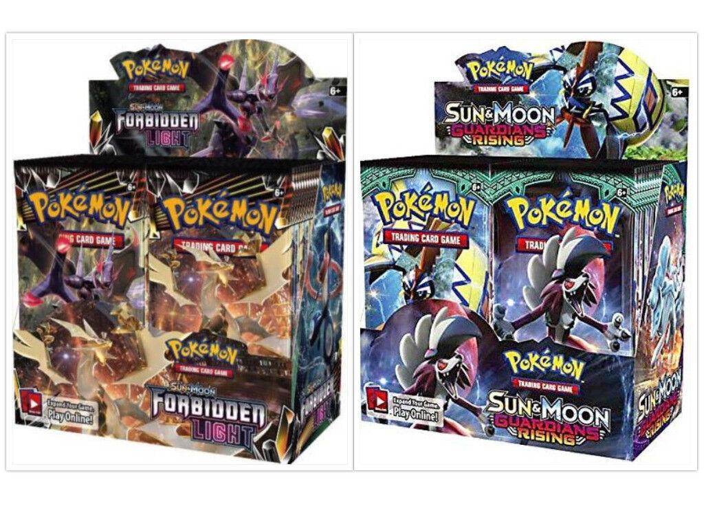 Pokemon TCG TCG TCG Sun Moon Forbidden Light + Guardians Rising Booster Box Card Game d50396