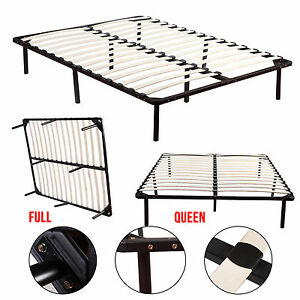 Full Queen Size Wood Slats Metal Platform Bed Frame