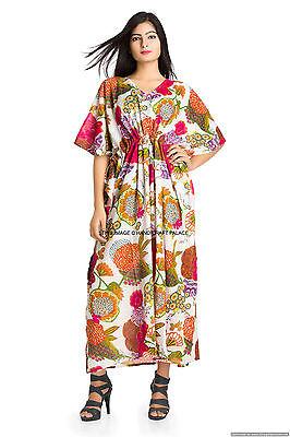 White Fashion Indian Kaftan Women Wear Floral Robes Pure Cotton Caftan Size 6X