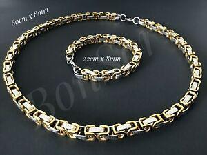 Edelstahl-Herren-Armband-Koenigskette-Byzantiner-Armkette-Kette-silber-gold-8-mm
