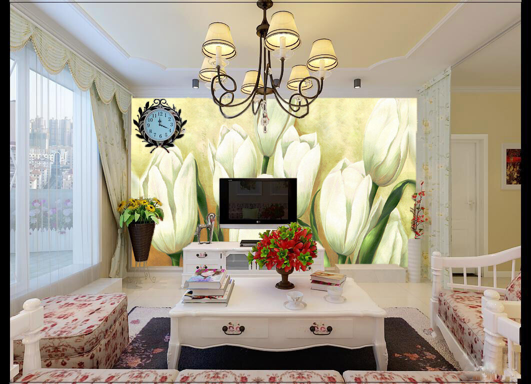3D Weiß Buds Painting Paper Wall Print Wall Decal Wall Deco Indoor Murals