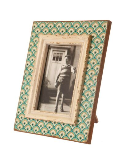"""French Cottage Vintage Antique Teal Distressed Wooden Photo Picture Frame 4x6/"""""""