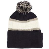 Men's Winter 2ply Striped Thick Knit Pom Pom Beanie Skull Ski Hat Cap Navy Gray