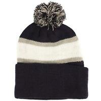 Men's Winter 2ply Striped Thick Knit Pom Pom Beanie Skull Ski Hat Cap Navy Gray