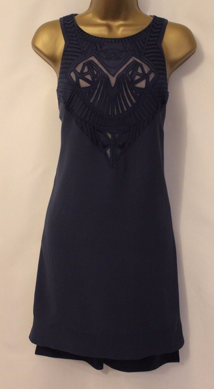 Karen Millen Tribal Embroidery Blau Silk Dip Hem Cocktail Party Dress 10 38