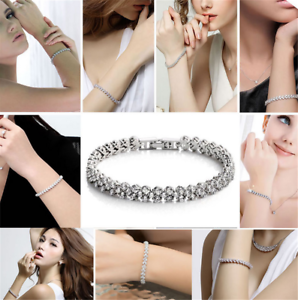 Women-925-Sterling-Solid-Silver-Bangle-Chain-Crystal-Cuff-Bracelet-Charm-Jewelry