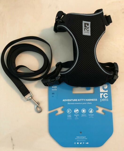 Rc Pets Adventure Kitty Harness Szize M  Black With Leash