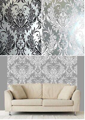 Luxury White /& Silver Metallic Medina Damask Feature Wallpaper 4001