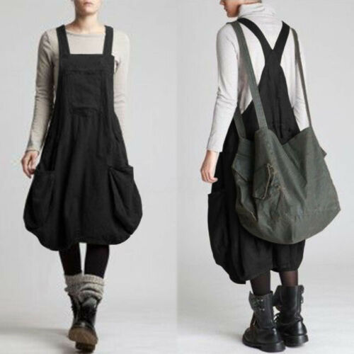 ZANZEA UK Womens Oversized Sleeveless Casual Loose Dungaree Dresses Overalls