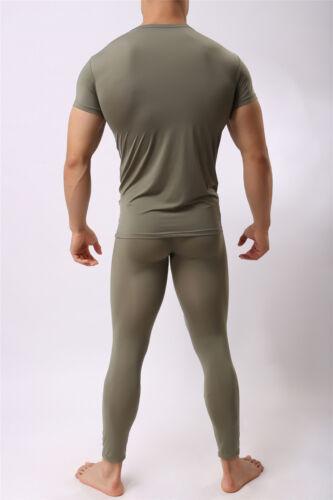 Mens Sports Casual Boxer Legging Pants T-shirt Thin Tight Gym Underwear Homewear