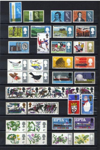 1965-67 GREAT BRITAIN, 11 SCARCE PHOSPHOR COMMEMORATIVE STAMP SETS, MNH