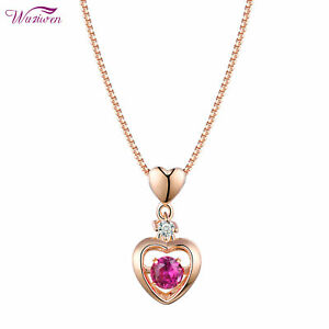 Heart-Dancing-Red-Ruby-Rose-Gold-925-Sterling-Silver-Cz-Pendant-Chain-Necklace