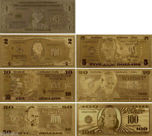 Hot 1 Set 7 Pcs Gold Foil Plated USD Paper Money Banknotes Crafts For Collect Sq