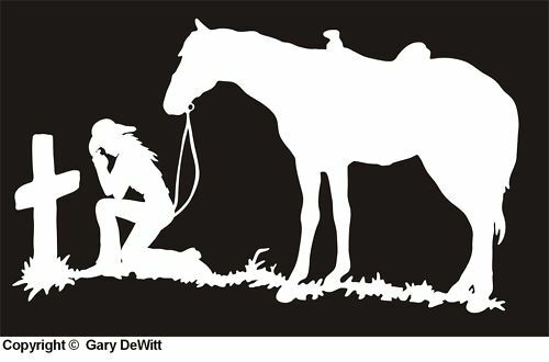 7x12 COWGIRL PRAYING AT CROSS Decal Sticker horse #20