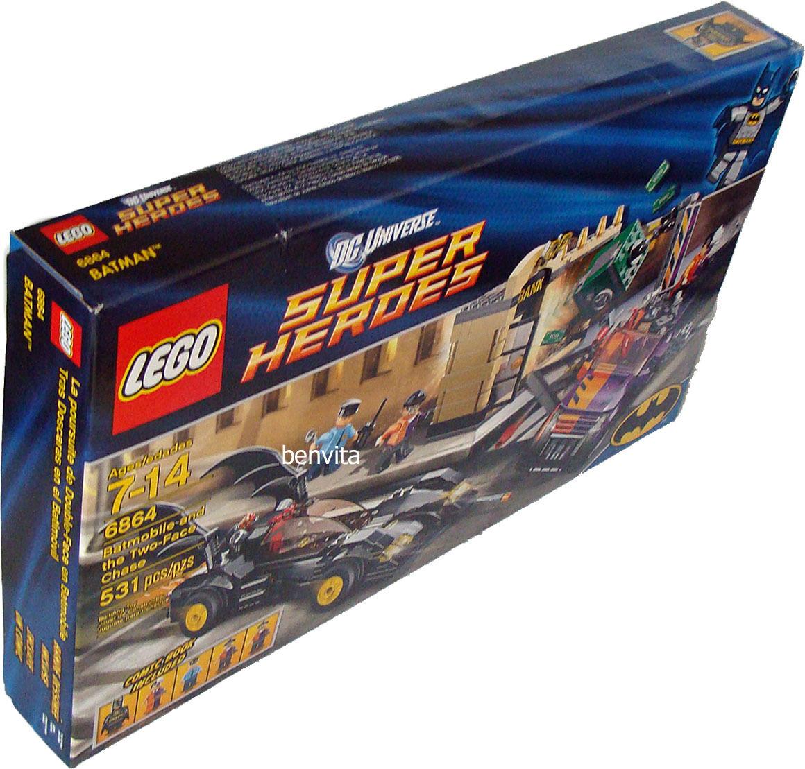Lego® Super Heroes 6864 Batmobil & Two Face Verfolgung 7-14 J. 531 Teile - Neu