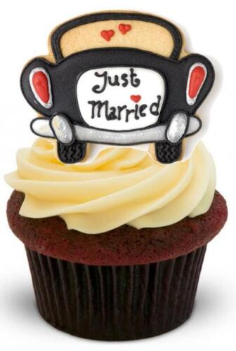 Icing Edible Cake Toppers NOVELTY Just Married Romantic Black Car STAND UP