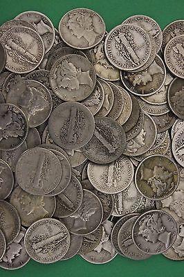 MAKE OFFER 2 Troy Ounces Mercury Dimes 90/% Silver Junk Coins US Bullion