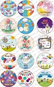 30 Eid Moubarak Brillant Autocollants Blue Moon Décorations À faire soi-même Cupcakes Picks