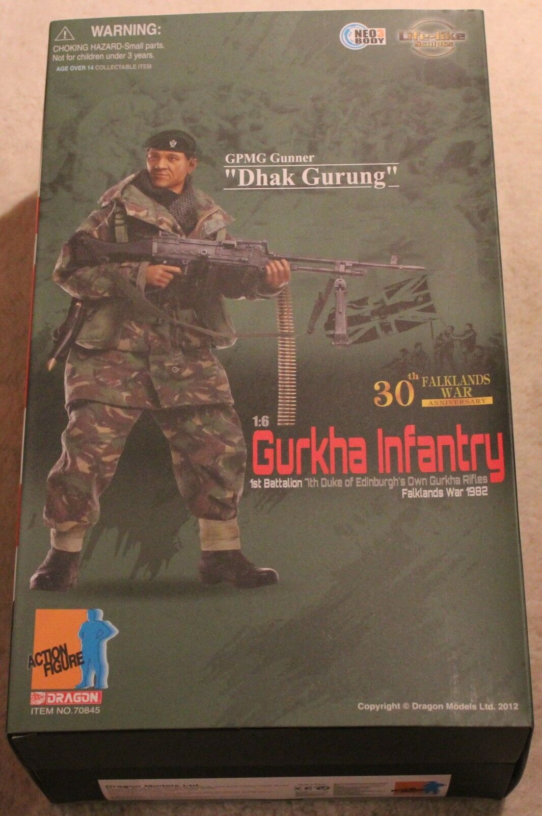 Dragon Action Figure Gurka FALKLAND 1 6 12  in scatola ha fatto Cyber HOT Toy
