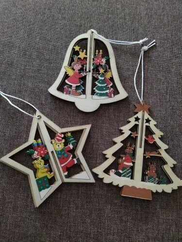 3D Xmas Tree Wooden Pendants Hanging DIY Christmas Decoration Home Party Decor