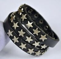 COOL STARS STUDDED MULTI-WRAP VANTAGE LEATHER BRACELET WRISTBAND CUFF MENS BLACK