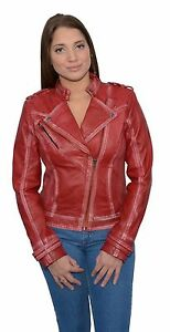 Red Motorcykel Collar Ladies Classic Jakke Sheepskin Studding Style Læder dtqSq