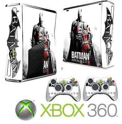 Cheap Sale Xbox 360 Slim Console Sticker Skin Bat Man Arkham Style & 2 X Controller Skins