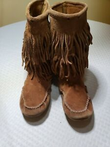 MINNETONKA-Sz-7-5-DOUBLE-FRINGE-Brown-SUEDE-Leather-Flats-Moccasin-Booties-Boots