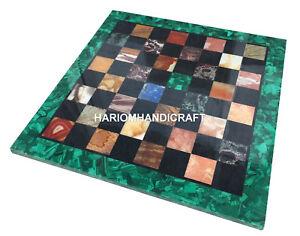Green-Marble-Square-Chess-Table-Top-Malachite-Multi-Stone-Inlaid-Decor-Art-H2745