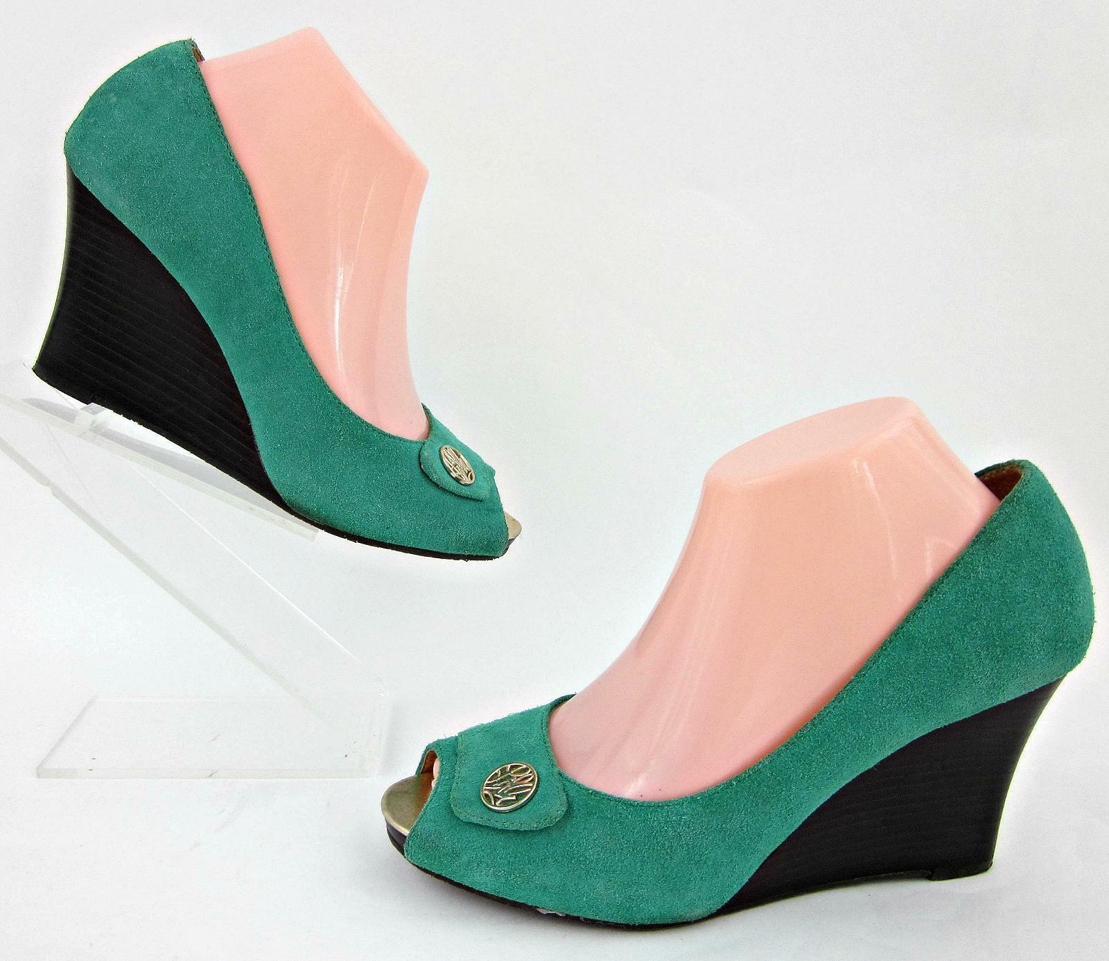 Lilly Pulitzer Resort Chic Wedges Jewel Green Suede Leder Sz 7.5M