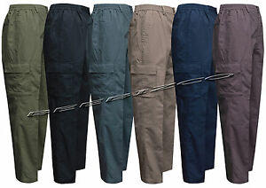 New-Mens-Elasticated-Waist-Rugby-Trousers-Cargo-Combat-M-3XL