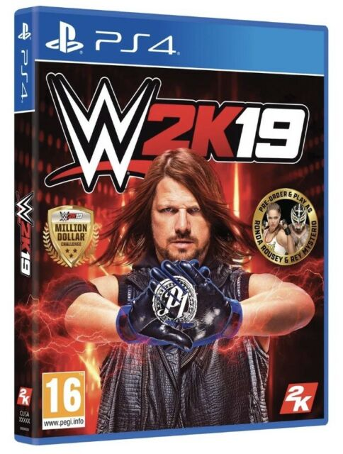 WWE 2K19 PS4 (New & Sealed) Including Rey Mysterio & Ronda Rousey Pack P3