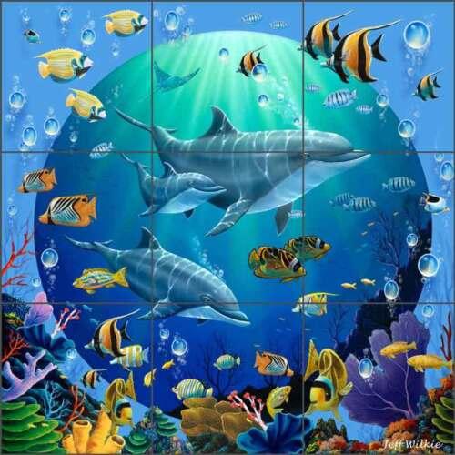 Tile Mural Backsplash Ceramic Wilkie Dolphin Fish Undersea Art POV-JWA038