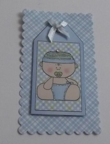 PK 3 BABY BOYS TAGS EMBELLISHMENT TOPPERS FOR CARDS OR CRAFTS