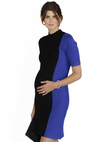 Maternity Contrast Side Panel Knitted Dress Black /& Blue
