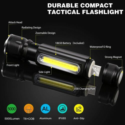 50000LM LED Flashlight USB Rechargeable T6 COB Torch Work Light Tail Magnet