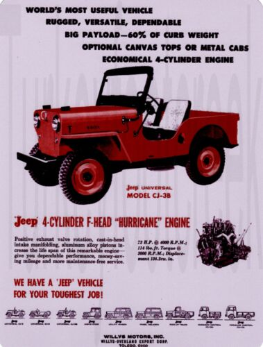 "Willys Jeep CJ-3B  9/"" x 12/"" Sign"