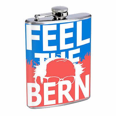Bernie Sanders D6 Flask 8oz Stainless Steel Hip Drinking Presidential Candidate