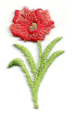 "Poppy - Flower- Spring - Garden - Embroidered Iron On Applique Patch - 2""H"