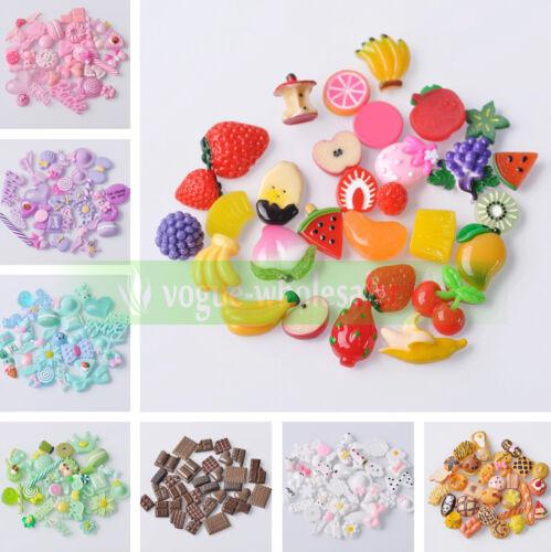 30 Pcs Random Mixed nourriture fruits dessert Candy Resin Flatback Cabochons À faire soi-même