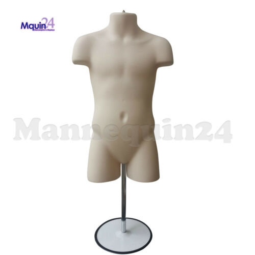 Size 5T - 7T // FLESH 3 HANGERS w//3 STANDS 3 CHILD TORSO MANNEQUIN FORMS