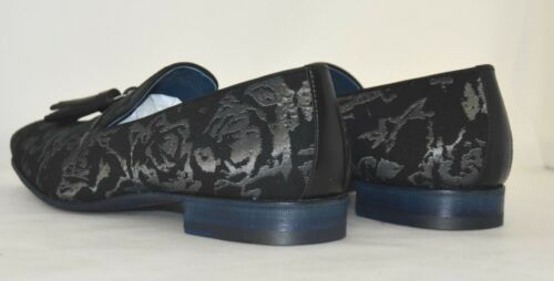 Tessuto tassel leather mocassino Nero Loafer Fabric 8½eu 9½us black Man Sole Ewq10PO