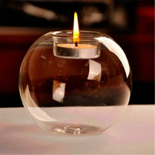 Round Crystal Glass Candle Holder Wedding Xmas Party Dinner Decor Candlestick