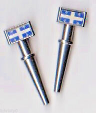 2- Flags of Quebec Metal ChristyMade Cribbage Board Pegs With Free Velvet Bag  ~