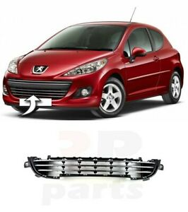 For Peugeot 207 09 13 New Front Bumper Lower Center Grille With Chrome 7422c4 Ebay