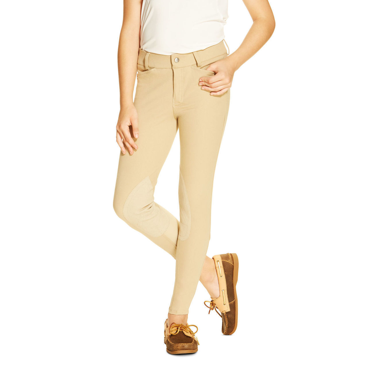 Ariat Heritage Girls Kids Knee Patch Front Zip Breeches - Tan - All Größes