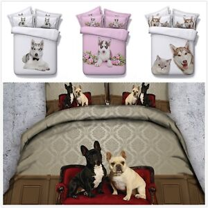 Single Duvet Cover Pillowcase Bedding Set Puppy Butterfly 3D Effect